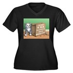 WMD Women's Plus Size V-Neck Dark T-Shirt