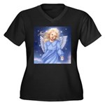 Angel of the Air Women's Plus Size V-Neck Dark T-S