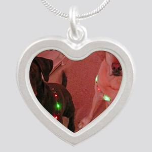 Christmas Lights Silver Heart Necklace