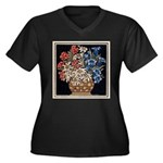 Edelweiss Bouquet Women's Plus Size V-Neck Dark T-