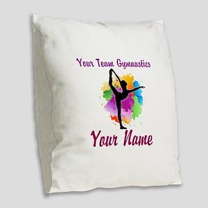 Customizable Gymnastics Team Burlap Throw Pillow