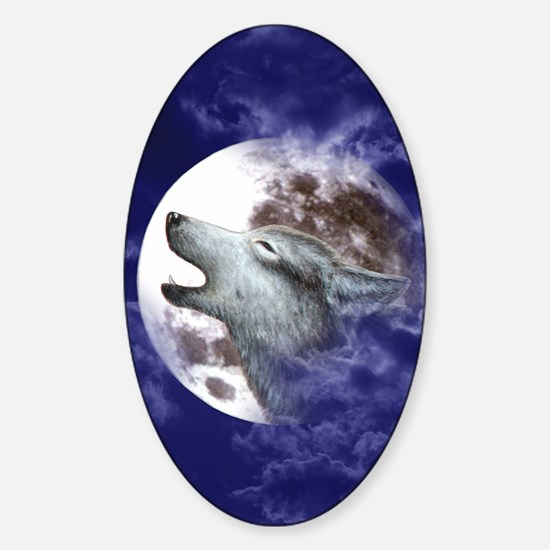 KINDLE SLEEVE-MOON WOLF Sticker (Oval)