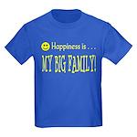 Happiness is MY BIG FAMILY Kids Dark T-Shirt