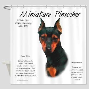 Min Pin (black & rust) Shower Curtain