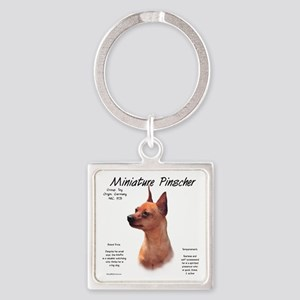Min Pin (red/rust) Square Keychain