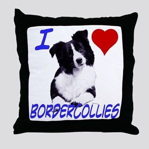 i love border collie Throw Pillow