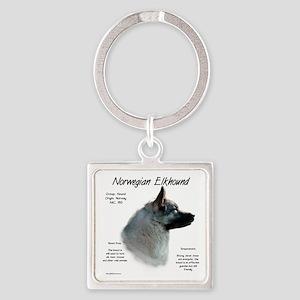 Norwegian Elkhound Square Keychain