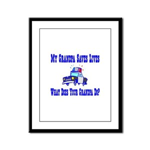 Police Saves Lives-Grandpa Framed Panel Print