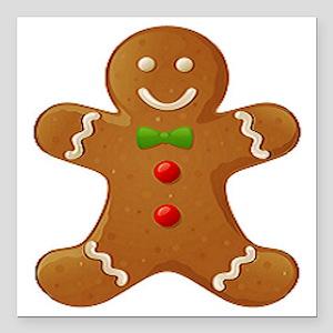 "Gingerbread Man Square Car Magnet 3"" x 3"""