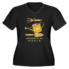 Garden Tools Women's Plus Size V-Neck Dark T-Shirt