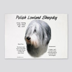 Polish Lowland Sheepdog 5'x7'Area Rug