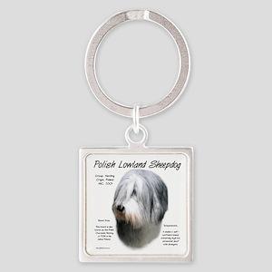 Polish Lowland Sheepdog Square Keychain