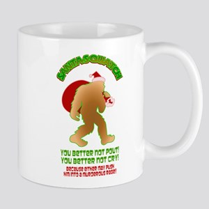 Sasquatch Santa Pout Cry Mugs