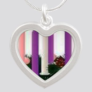 Advent Candles Silver Heart Necklace