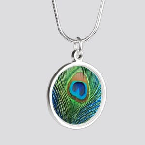 glittery blue peacock feathe Silver Round Necklace