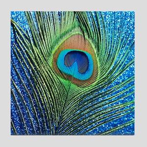 glittery blue peacock feather curtain Tile Coaster