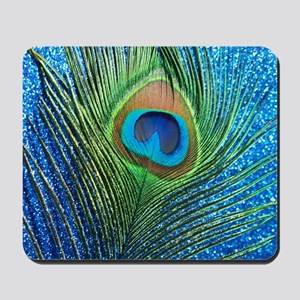 glittery blue peacock feather curtain Mousepad