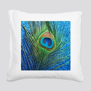 glittery blue peacock feather Square Canvas Pillow