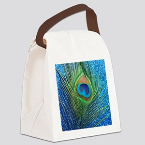 glittery blue peacock feather cur Canvas Lunch Bag