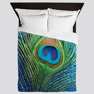 glittery blue peacock feather curtain Queen Duvet