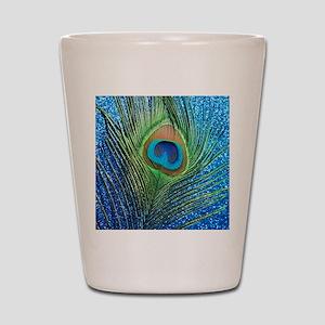 glittery blue peacock feather curtain Shot Glass