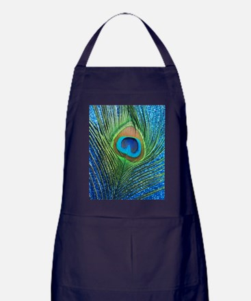 glittery blue peacock feather curtain Apron (dark)