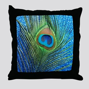 glittery blue peacock feather curtain Throw Pillow