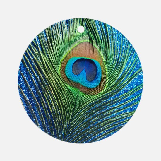 glittery blue peacock feather curta Round Ornament