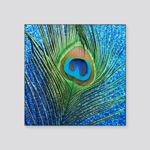"glittery blue peacock feath Square Sticker 3"" x 3"""