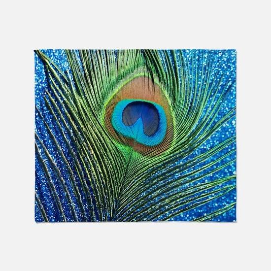 glittery blue peacock feather curtai Throw Blanket