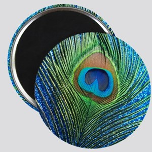 glittery blue peacock feather curtain Magnet