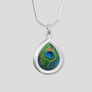glittery blue peacock fe Silver Teardrop Necklace