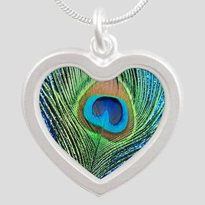 glittery blue peacock feathe Silver Heart Necklace