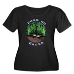 Peas On Women's Plus Size Scoop Neck Dark T-Shirt