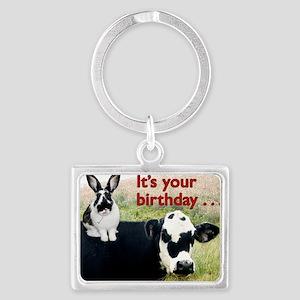 Bunny  Cow Birthday Card Landscape Keychain