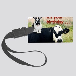 Bunny  Cow Birthday Card Large Luggage Tag