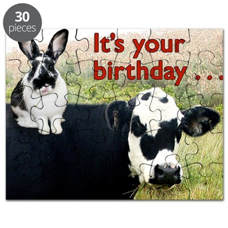 Bunny Cow Birthday Card Puzzle By Admincp14810190