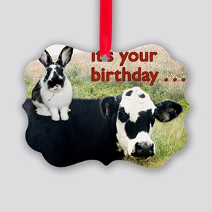 Bunny  Cow Birthday Card Picture Ornament
