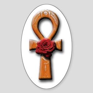 Ra Rose-Ankh Oval Sticker
