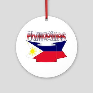 Flag philippines ribbon Ornament (Round)