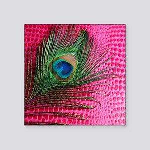 "Hot Pink Peacock Feather Square Sticker 3"" x 3"""