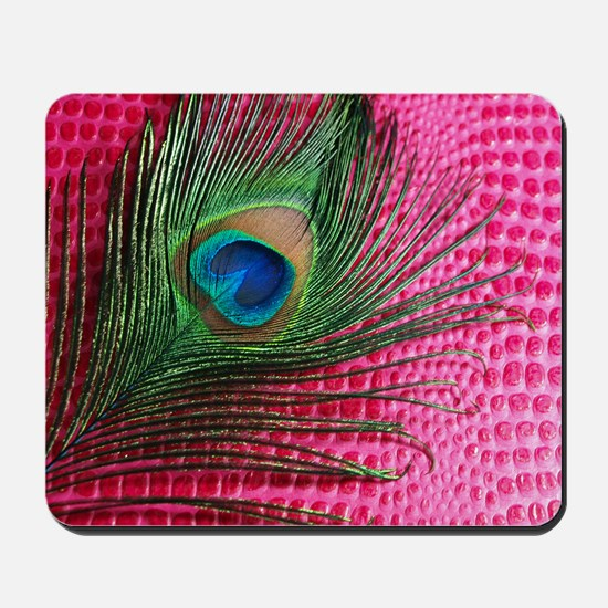 Hot Pink Peacock Feather Mousepad