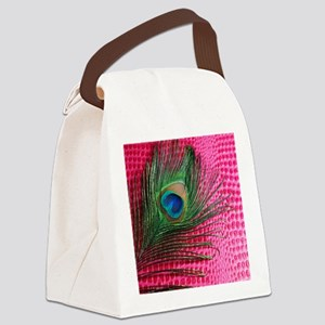 Hot Pink Peacock Feather Canvas Lunch Bag
