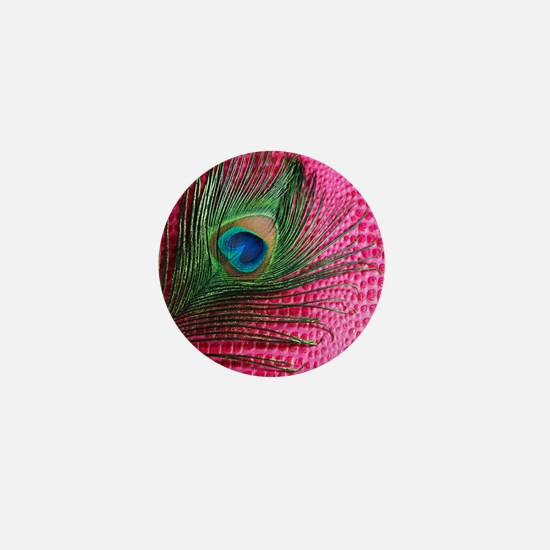 Hot Pink Peacock Feather Mini Button