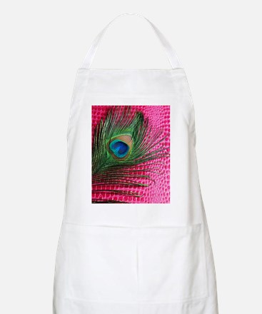 Hot Pink Peacock Feather Apron