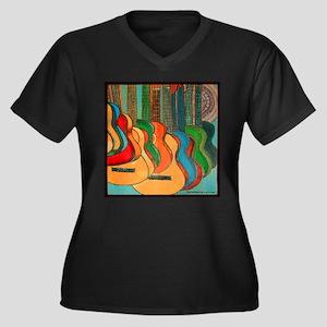 Strings Women's Plus Size V-Neck Dark T-Shirt
