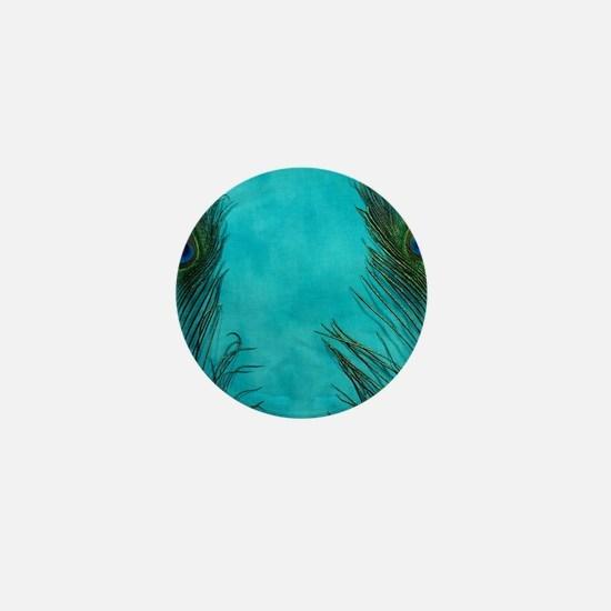 Aqua Blue Peacock Feathers Mini Button