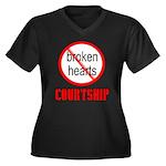 COURTSHIP Women's Plus Size V-Neck Dark T-Shirt