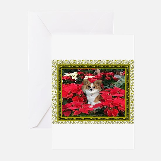 Papillon Gold Poinsettia Christmas Cards (6) Greet