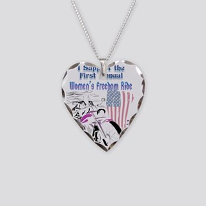 Support the Women's Freedom R Necklace Heart Charm